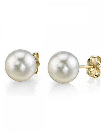 (14K Gold 5.0-5.5mm White Akoya Cultured Pearl Stud Earrings - AAA Quality)