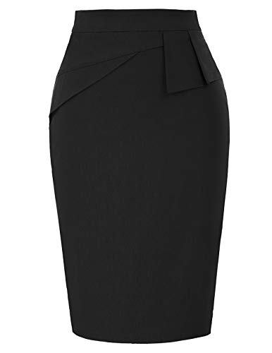 Women's Solid Black Stretch Bodycon Midi Pencil Skirt Wear to Work S Black