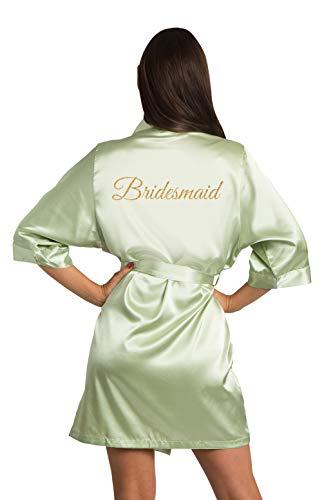 (Zynotti Women's Old Gold Glitter Bridesmaid Getting Ready Bridal Party Kimono Wedding Sage Green Satin Robe - S/M)