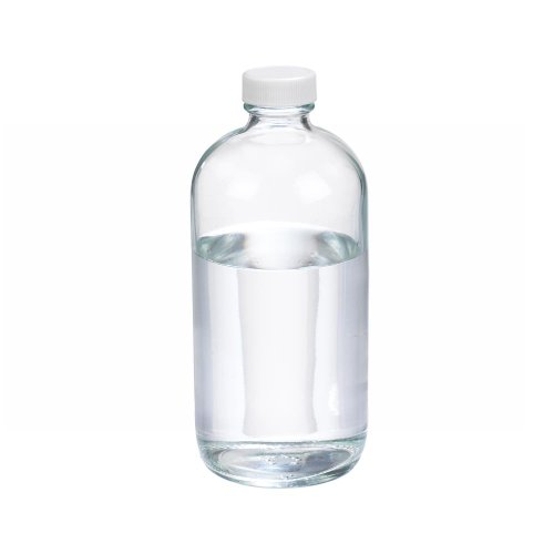 Wheaton W216810 Boston Round Bottle, Clear Glass, Capacity 16oz With 28-400 White Polypropylene PTFE Faced Foamed Polyethylene Lined Screw Cap, Diameter 75mm x 168mm (Case Of (Polyethylene Lined Cap)