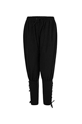 (Coser Park Mens Ankle Banded Pants Medieval Viking Navigator Trousers Renaissance Pants Medium, Black)