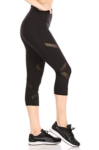 ShoSho Womens High Waist Sports Capris Yoga Tummy Control Leggings Activewear Stretch Bottoms Cropped Athletic Pants with Front Mesh Panels Black X-Large