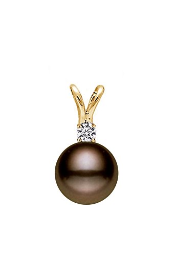 14K Or AAA Qualité Classique Cacao perle de culture d'eau douce-Diamant