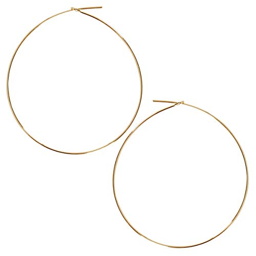 Humble Chic Round Hoop Earrings - Hypoallergenic Lightweight Wire Threader Loop Drop Dangles for Women, Safe for Sensitive Ears, 18K Yellow - 2 inch, Gold-Electroplated, Large