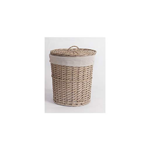 SMMBM Woven Clothing Basket with Lid Storage Basket, Willow Toy Basket Laundry Basket, Two Sizes Storage Basket (Size : A)