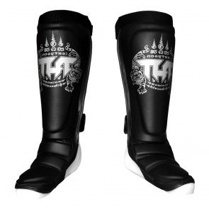 MuayThai Shinguards TUFF Hybrid Black Silver with New Logo size L by Tuff Products