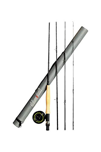 Rod Fly Greys - Adamsbuilt Youth Fly Fishing Combo (4 Piece), Gray/Black, 8'