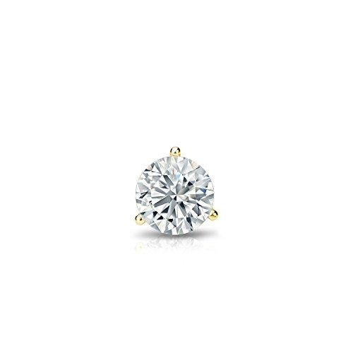 18k Yellow Gold 3-Prong Martini Diamond SINGLE STUD Earring (1/6 ct, J-K, - Diamond Prong Gold