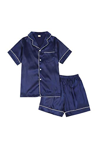(Little Girls Boys Short Stain Pajamas Set Classic Silk Pjs 2 Piece Loungewear Toddler Kids Button-Down Sleepwear Short Sleeve)