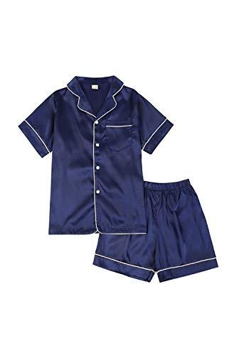 BAIYIXIN Little Girls Boys Short Satin Pajamas Set Classic Silk Pjs 2 Piece Leisure Toddler Kids Sleepwear (9-10 Years/Tag 160, Navy)