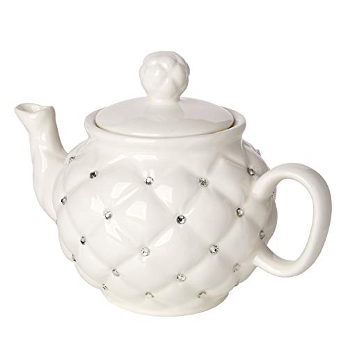 Cucina Italiana Porcelain Decorative Teapot Tea For One with Crystal Accented Ivory ()