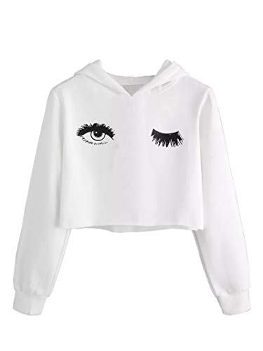 Girls Unicorn Crop Tops Kids Cute Hoodies Casual Long Sleeves Pullover White Sweatshirts Spring Fall Clothes Size 9-11 T (11 Year Old Girls Crop Tops)