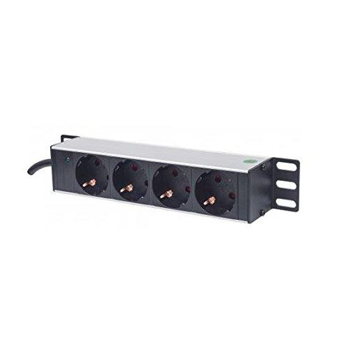 """'Intellinet 10Bloc multiprise 4Schuko Intellinet 10"""" rallonge multiprise schuko à 4 prises (LED puissante, sans protection à maximum de tension, 1,8 m câble de courant, 1 HE)"""