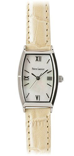 PIERRE LANNIER watch Tonneau Watch Silver / Croco Press pearl beige P131D690 C40 Ladies