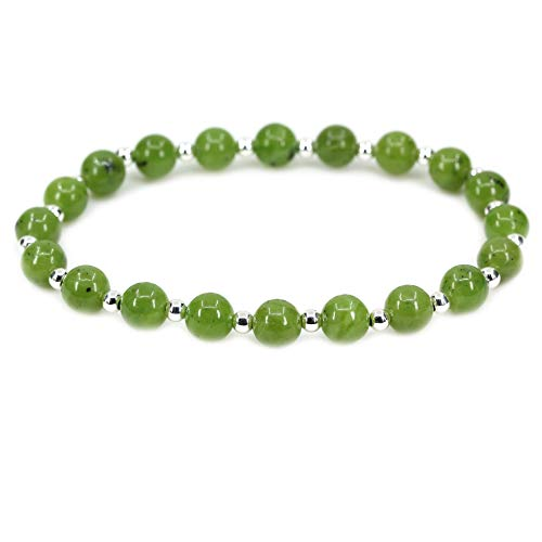 AMANDASTONES Natural Canadian Nephrite Jade Gemstone 6mm Round Beads S925 Silver Stretch Bracelet 7