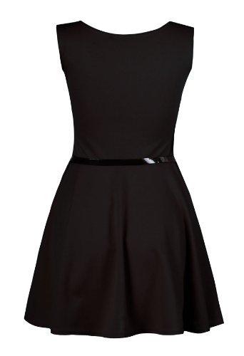 Femme Plus Taille Robe Patineuse sans manches Uni (– 24/26, noir)
