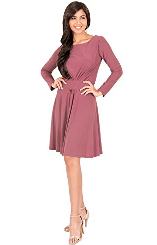 KOH KOH Plus Size Womens Long Sleeve Dressy A-Line Fall Winter Formal Flowy Work Empire Waist Knee Length Vintage Swing Modest Cute Abaya Mini Midi Dress Dresses, Cinnamon Rose Pink XL 14-16
