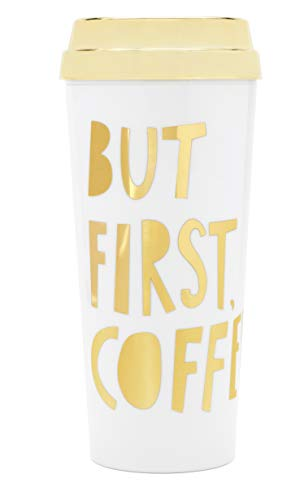 Ban.do Hot Stuff Insulated Thermal Travel Coffee Mug Tea Cup with Funny Sayings, 16 oz (but first coffee gold)