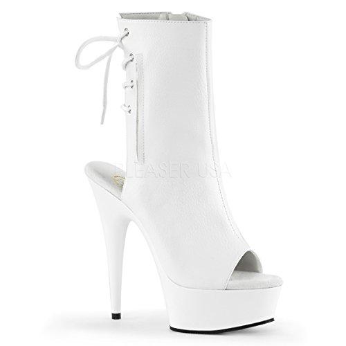 Pleaser Women's Delight-1018 Boot,White Polyurethane/White,6 M US ()