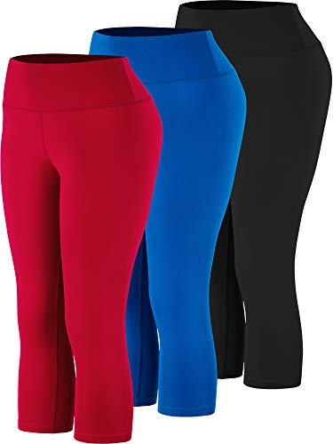 Cadmus High Waist Yoga Capri,Tummy Control,Workout Pants with Pockets for Womens,1002,Black & Blue & Red,Medium