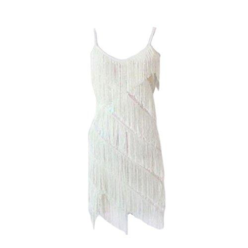 Latin Dance Costumes Hong Kong (Halter Latin/Rumba/Cha-cha Dance Dress Sequins Fringe Dance Skirt-White)