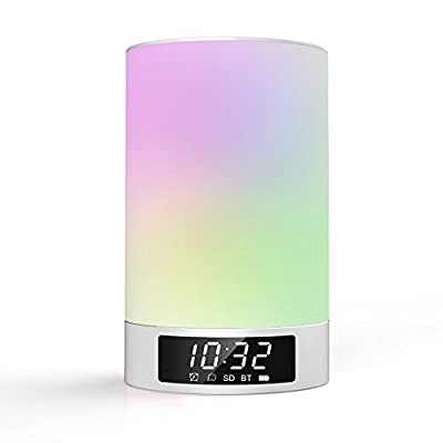 LED Bedside Lamp Speaker, Airecho Smart Touch Rotation of Colors Bedroom Bedside Table Lamp Night Light for Smartphones and All Bluetooth Enabled Devices