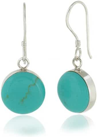 925 Sterling Silver Blue Turquoise Stone Round Dangle Hook Earrings