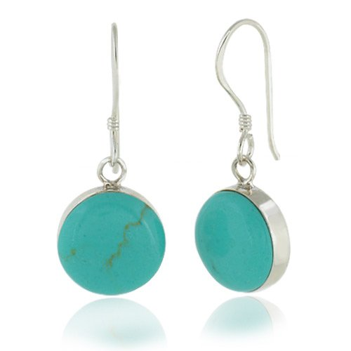 9e76c75ca Amazon.com: 925 Sterling Silver Blue Turquoise Stone Round Dangle Hook  Earrings: Jewelry