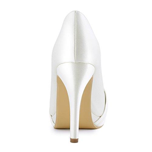 Elegantpark Femmes Haut Talon Plateforme Pompes Fermé Orteil Boucle Satin Chaussures De Mariée De Mariage Nouveau Ivoire