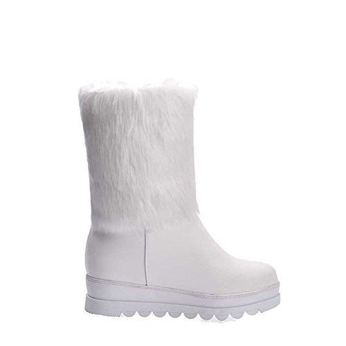 AllhqFashion Damen Rein Hoher Absatz Rund Zehe Weiches Material Ziehen auf Stiefel Weiß