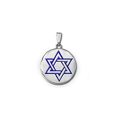 (Sterling Silver Round Star of David W/Blue Enamel Picture Locket - 3/4 in X 3/4 in with Engraving)