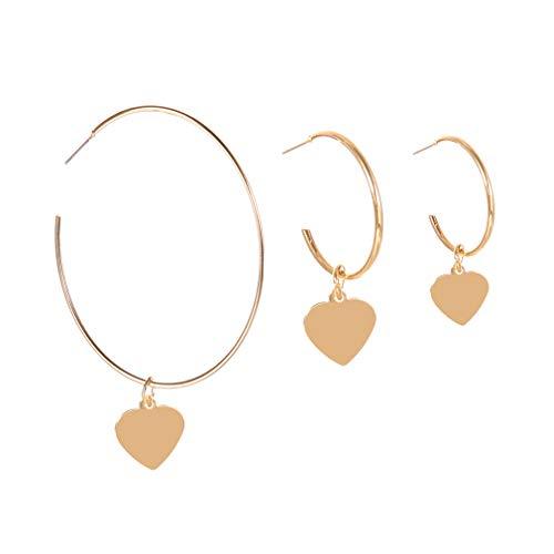 YESMAEA Heart Hoop Earrings Geometric Love Big Round Circle Earrings Hollow Heart Dangle Earrings for Woman