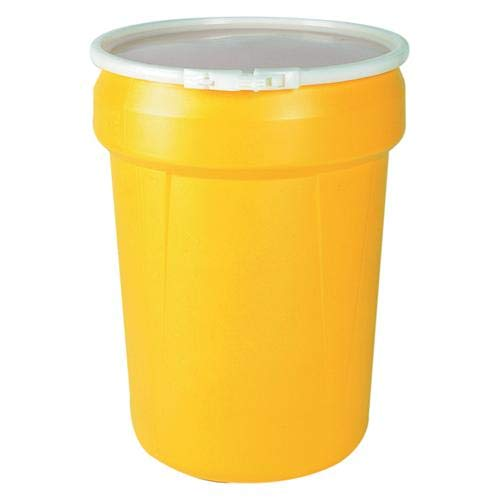 (Eagle 1601 Open Head Poly Drum, 30 Gal. Yellow with Plastic Lever-Lock Ring)
