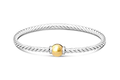 Beach Ball Twist Bracelet From Cape Cod two-Tone 14k solid ball gold and 925 sterling silver bangle from Michael's Jewelers-Provincetown