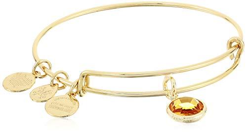 Alex and Ani Women's Swarovski Color Code Bangle November Topaz Bracelet, Shiny Gold
