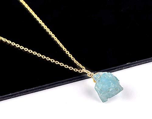 (Natural Raw Aquamarine Crystal Pendant Necklace, Rough Aquamarine, Rough Aquamarine Rock, Gold Fill Chain, Natural Aquamarine Gemstone, Raw Gemstone Necklace, Dainty)