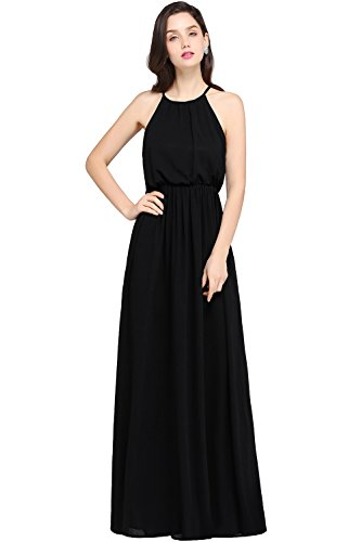 Babyonlinedress Halter Vintage Chiffon Women's Maxi Casual Dress,Black,14