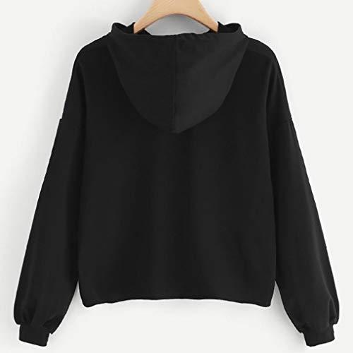 O Casual Liquidazione di alla Collo Felpa Shirt di Impiombatura T Moda Vendita Nero Donne Tops Lunghe Elegante Camicette Camicie Ragazza Maniche Autunno Hzqx5dnq0w