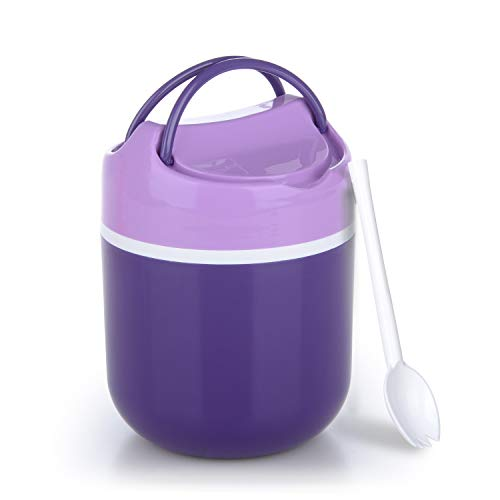 Insulated Lunch Box, Hometall 32 Oz Food Jar For Adult kids with Spoon, Leakproof 2 Compartments Food Container Great for School, Office, Travel and More(Purple)