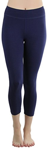ToBeInStyle Women's Cotton-Spandex Capri Leggings - Navy - Large
