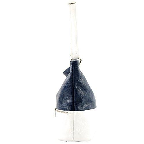 en cuir Dunkelblau de Weiß cuir d'épaule sac ital modamoda sac épaule sac dames en T143 FBtaxaWn