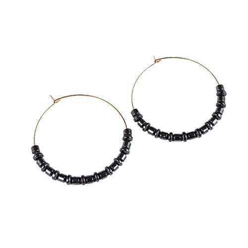 Women Handmade Beaded Natural Stone Pendant Geometric Round Earrings Ladies Jewelry Gift Accessories(A)
