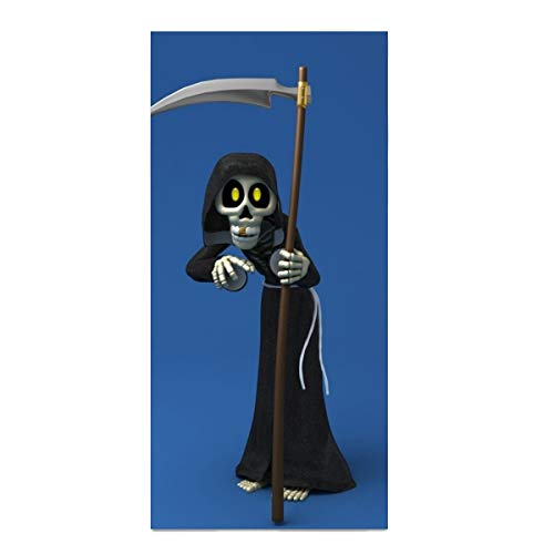 Dark Grim Reaper Cartoon Scythe Halloween Printed Face Hair or Bath Towel 11.8 × 27.5