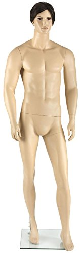 Displays2go Athletic Male Mannequin with Realistic Facial Features and Hair – Flesh Tone (MSAFMDBW) by Displays2go
