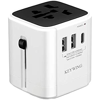 Universal Travel Adapter International Power Adapter All in One Worldwide Travel Plug Adapter 2 USB 1 Type C Wall Charger AC Plug Converter Europe USA UK Asia Cell Phone Laptop Tablet (White)