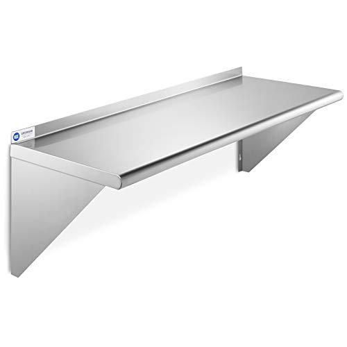 GRIDMANN NSF Stainless Steel Kitchen Wall Mount Shelf Commercial Restaurant Bar w/Backsplash - 12