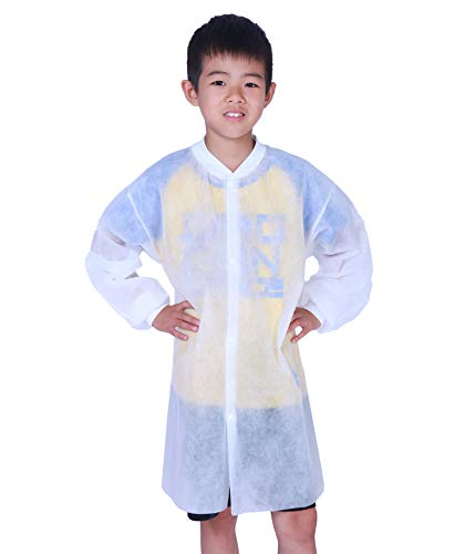 (Cleaing Disposable Lab Coats for Kids with Knit Cuffs, Medium, 10 Pack)