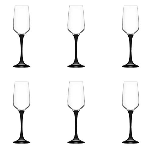 LAV Lal Glass Champagne Flutes, 230ml - Black - Pack of 6 Champagne Tulips