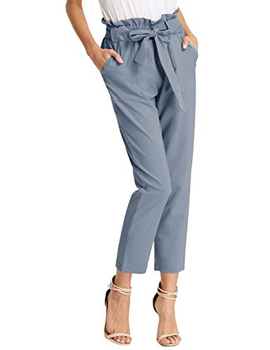 GRACE KARIN Womens Bow-Knot Decorated Pencil Pants High Waist Cropped Trousers Blue Gray L