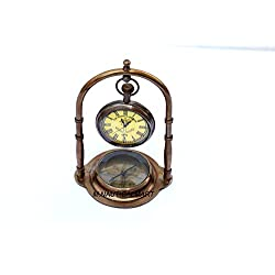 Table Clock Nautical Antique Brass Maritime with Compass Working Navy Style Decorative Sold by:M.Nauticalmart